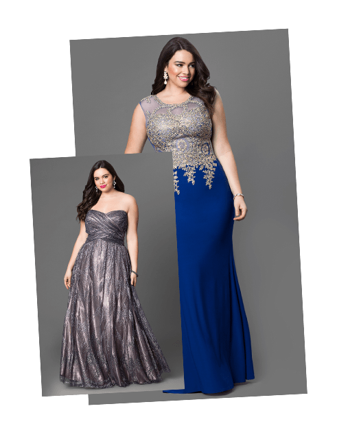 Plus size prom dresses gowns in plus sizes promgirl for Big girl dresses for wedding guests