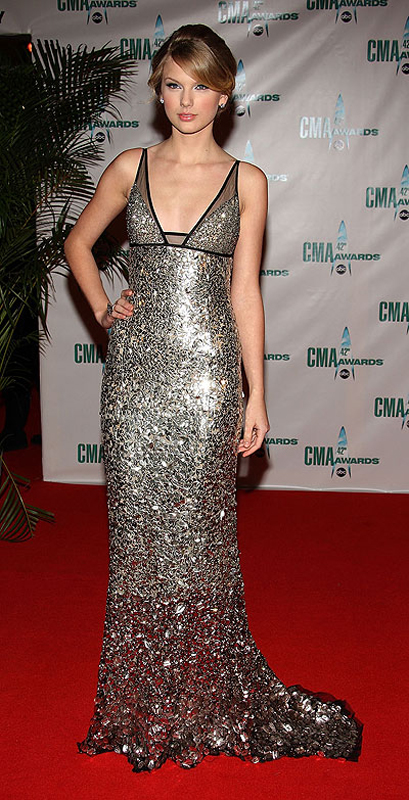 Taylor Swift Inspired Silver Sequin Dress Prom Dresses, Celebrity ...