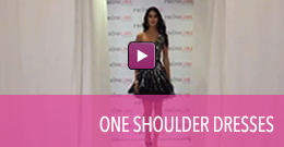 Video of homecoming dresses with one shoulder styling.