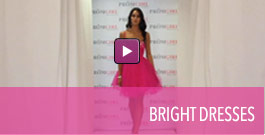 Video of homecoming dresses in bright neon colors.