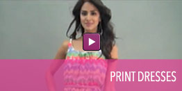 View video of print dresses.