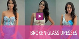 View video of dresses with broken glass trim.