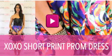 Video of XOXO short print prom dress.