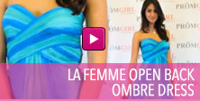 Video of La Femme open back ombre dress.