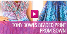 Video of Tony Bowls beaded print prom gown.