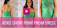 Video of green XOXO short print prom dress.