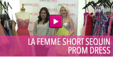 Video of La Femme short sequin prom dress.