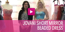 Video of Jovani short mirror beaded dress.