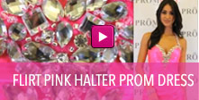 Video of Flirt pink halter prom dress.