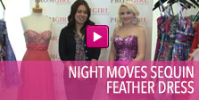 Video of Night Moves sequin feather dress.