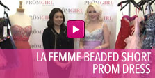 Video of La Femme beaded short prom dress.