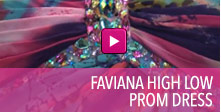 Video of Faviana high low prom dress.