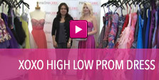 Video of XOXO high low prom dress.
