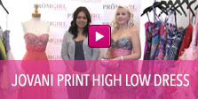 Video of Jovani Print high low dress.
