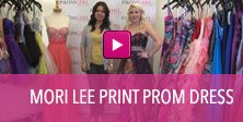 Video of Mori Lee print prom dress.