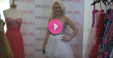 Video of Alyce Designs short white prom dress.