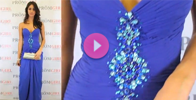 Video of Shimmer sexy prom gown.