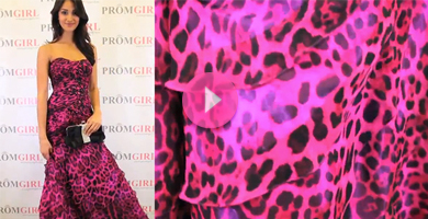 Video of Shimmer animal print prom dress.
