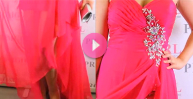 Video of Blush high low plus prom dress.