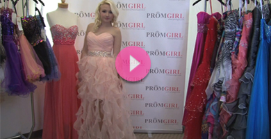 Video of Flirt ruffled prom dress.