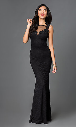 Sy Id2775vp Black Sleeveless Lace Embroidered Floor Length Dress