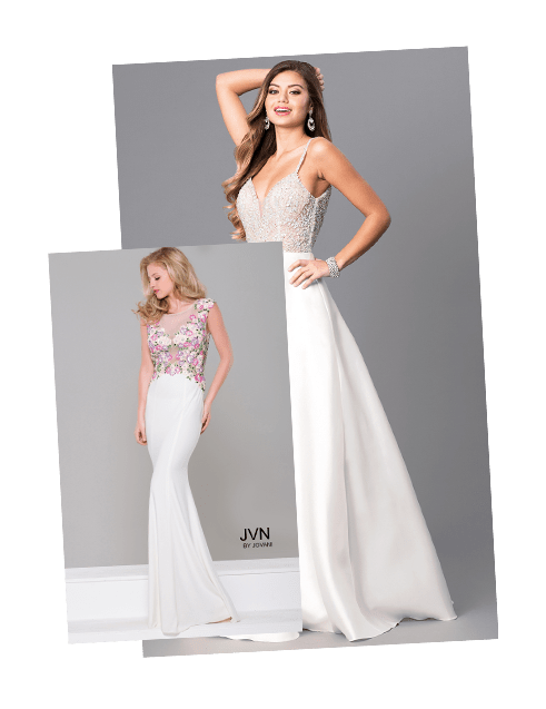 Formal Dresses with White Roses